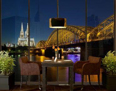 Fensterfolie - XXL Fensterbild Köln bei Nacht - Fenster Sichtschutz