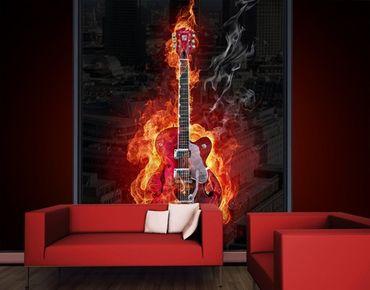 Fensterfolie - XXL Fensterbild Gitarre in Flammen - Fenster Sichtschutz