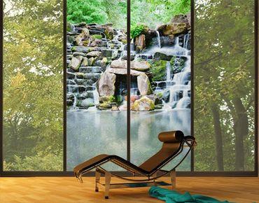 Fensterfolie - XXL Fensterbild Wasserfall - Fenster Sichtschutz