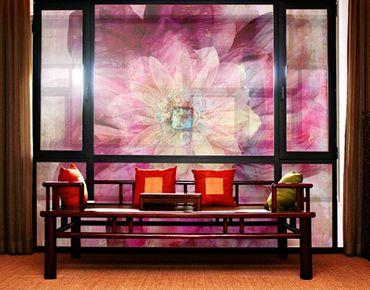 Fensterfolie - XXL Fensterbild Grunge Flower - Fenster Sichtschutz
