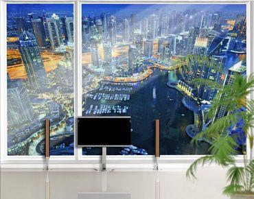 Fensterfolie - XXL Fensterbild Nächtliche Dubai Marina - Fenster Sichtschutz