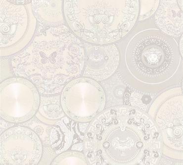 Versace wallpaper Mustertapete Versace 3 Les Etoiles de la Mer 2 in Grau, Metallic, Weiß