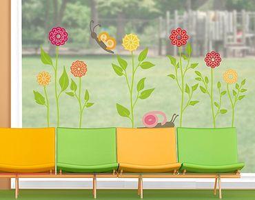 Fensterfolie - Fenstersticker - No.RS141 Zahlenblumen - Fensterbilder Frühling