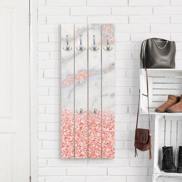 Wandgarderobe Holz - Mamoroptik mit Rosa Konfetti - Haken chrom Hochformat