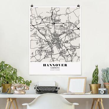 Poster - Stadtplan Hannover - Klassik - Hochformat 3:4