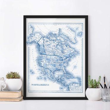 Bild mit Rahmen - Karte in Blautönen - Nordamerika - Hochformat 4:3