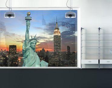 Fensterfolie - XXL Fensterbild New York At Night - Fenster Sichtschutz