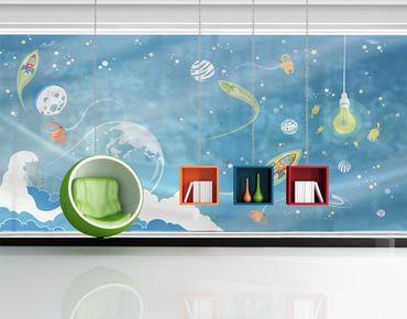 Fensterfolie - XXL Fensterbild No.MW16 Buntes Weltraumtreiben - Fenster Sichtschutz