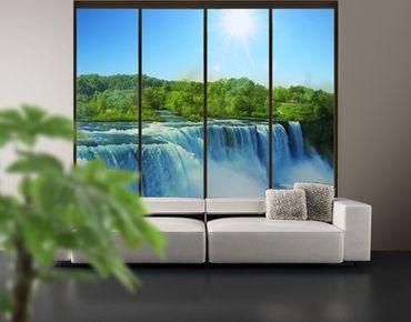 Fensterfolie - XXL Fensterbild Wasserfalllandschaft - Fenster Sichtschutz