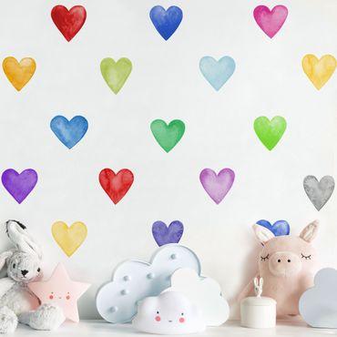 Wandtattoo mehrfarbig - 35 Aquarell Herzen Bunt