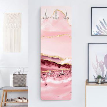 Garderobe - Abstrakte Berge Rosa mit Goldene Linien