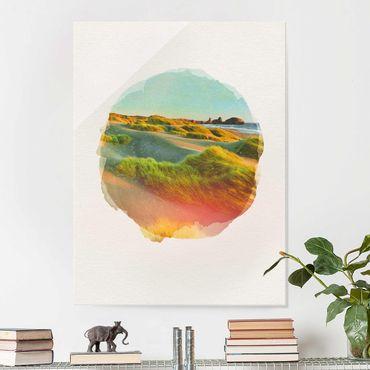 Glasbild - Wasserfarben - Dünen und Gräser am Meer - Hochformat 4:3