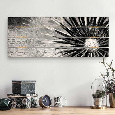 Holzbild - Pusteblume Schwarz & Weiß - Querformat 2:5