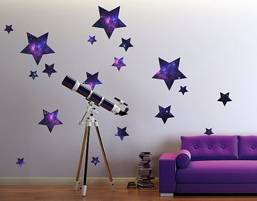 Wandtattoo Kinderzimmer No.542 Sterne Galaxie 18er Set