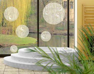 Fensterfolie - Fenstersticker No.517 Kreise Swan Lake 5er Set - Fensterbilder