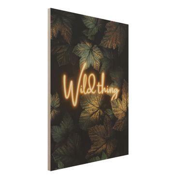 Holzbild - Wild Thing goldene Blätter - Hochformat 4:3