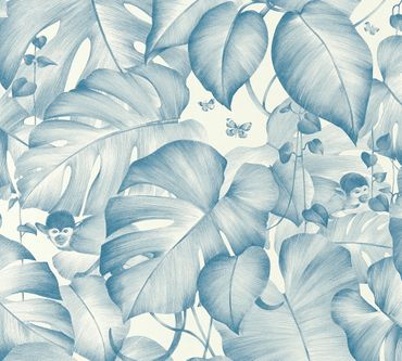Livingwalls Mustertapete Colibri in Blau, Weiß