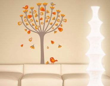 Wandtattoo Babyzimmer Wald - Baum No.EK145 Herbstvögel