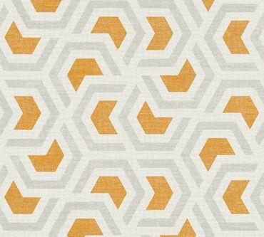 A.S. Création Mustertapete Linen Style in Grau, Orange, Weiß