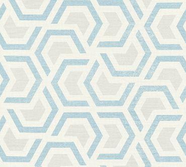A.S. Création Mustertapete Linen Style in Beige, Blau, Grau