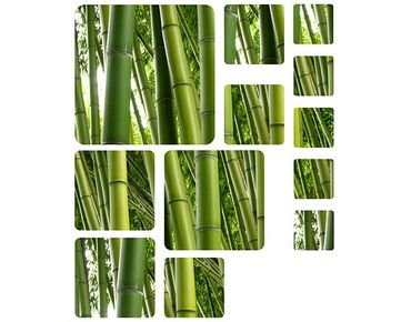 Fensterfolie - Fenstersticker No.524 Quadrate Bamboo Trees No.1 12er Set - Fensterbilder
