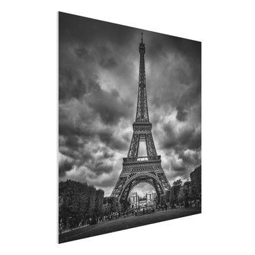 Forex Fine Art Print - Eiffelturm vor Wolken schwarz-weiß - Quadrat 1:1