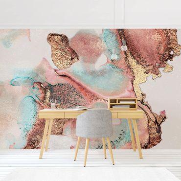 Fototapete - Goldenes Aquarell Rosé - Fototapete Quadrat