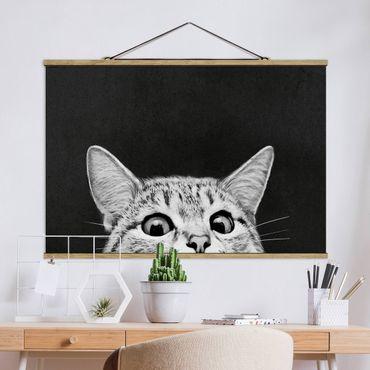 Stoffbild mit Posterleisten - Laura Graves - Illustration Katze Schwarz Weiß Zeichnung - Querformat 3:2