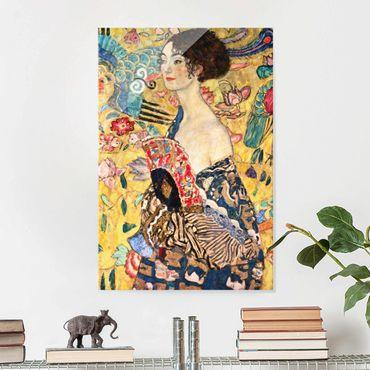 Glasbild - Gustav Klimt - Dame mit Fächer - Hochformat 3:2