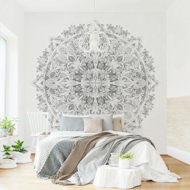 Fototapete - Mandala Aquarell Ornament schwarz weiß - Fototapete Quadrat