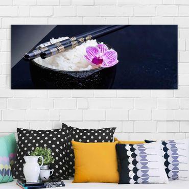 Glasbild - Reisschale mit Orchidee - Panorama