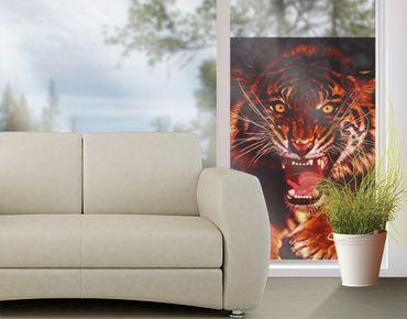 Fensterfolie - Sichtschutz Fenster Wilder Tiger - Fensterbilder