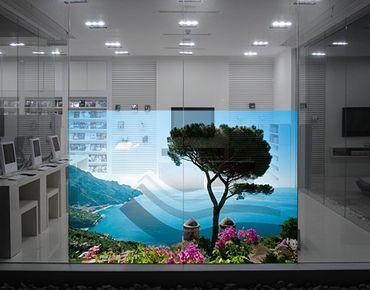 Fensterfolie - Sichtschutz Fenster Ausblick vom Garten aufs Meer - Fensterbilder