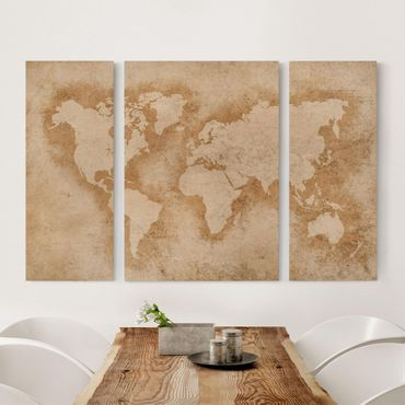 Leinwandbild 3-teilig - Antike Weltkarte - Tryptichon