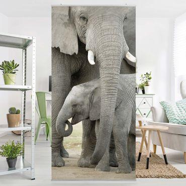 Raumteiler - Elefantenliebe 250x120cm