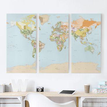 Leinwandbild 3-teilig - Politische Weltkarte - Hoch 1:2