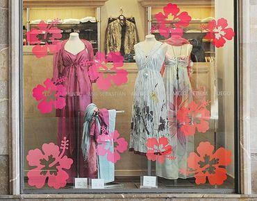 Fensterfolie - Fenstersticker No.546 Hibiskusblüten - Fensterbilder