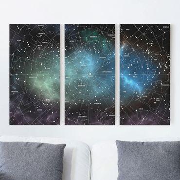 Leinwandbild 3-teilig - Sternbilder Karte Galaxienebel - Hoch 1:2