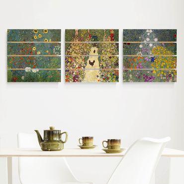 Holzbild 3-teilig - Gustav Klimt - Im Garten - Quadrate 1:1