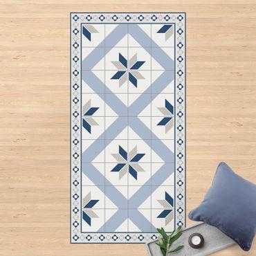 Vinyl-Teppich - Geometrische Fliesen Rautenblüte Taubenblau mit schmaler Bordüre - Hochformat 1:2