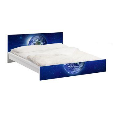 Möbelfolie für IKEA Malm Bett niedrig 180x200cm - Klebefolie Erde im Weltall