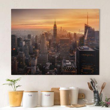Leinwandbild - Manhattan Skyline Abendstimmung - Querformat 3:4