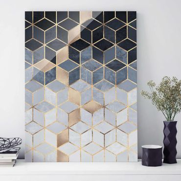 Glasbild - Blau Weiß goldene Geometrie - Hochformat 4:3