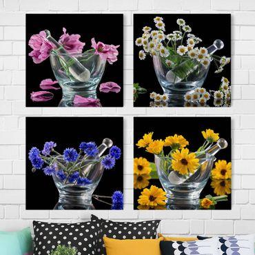 Leinwandbild 4-teilig - Blumen im Mörser