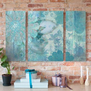 Leinwandbild 3-teilig - Winterblumen - Triptychon