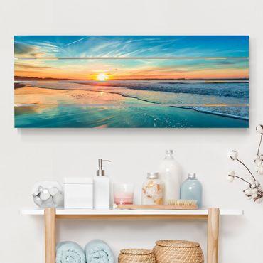 Holzbild - Romantischer Sonnenuntergang am Meer - Querformat 2:5