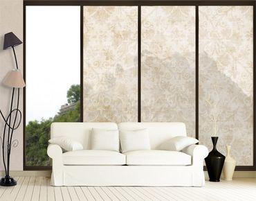 Fensterfolie - XXL Fensterbild Antiker Damast - Fenster Sichtschutz