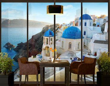 Fensterfolie - XXL Fensterbild Santorini - Fenster Sichtschutz