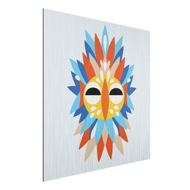 Aluminium Print gebürstet - Collage Ethno Maske - Papagei - Quadrat 1:1