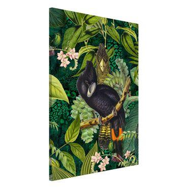 Magnettafel - Bunte Collage - Kakadus im Dschungel - Memoboard Hochformat 3:2
